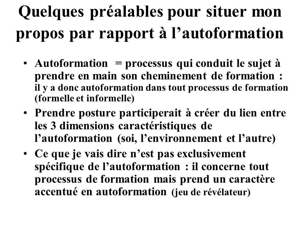 Ancrage dans 2 résultats de recherche 1.Lanalyse des effets de la médiatisation de la relation pédagogique sur la construction des postures professionnelles enseignantes (Lameul, thèse, 2006) me conduit à : - relativiser lincidence de lusage des TIC - faire émerger la notion de « posture » 2.