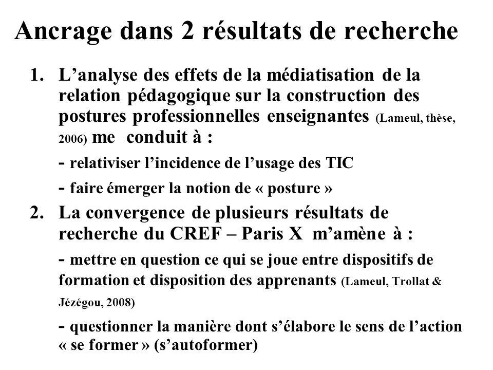 Ancrage dans 2 résultats de recherche 1.Lanalyse des effets de la médiatisation de la relation pédagogique sur la construction des postures profession