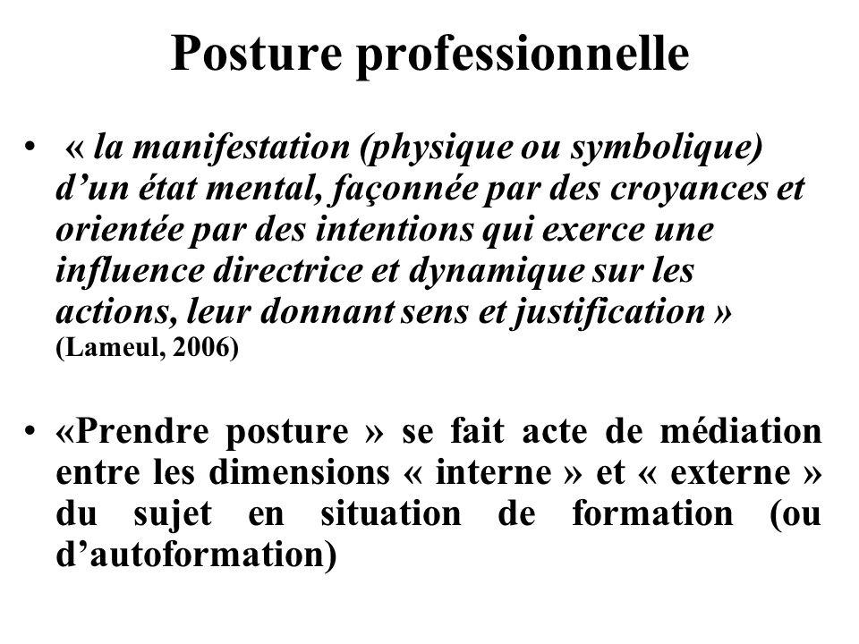 Posture professionnelle « la manifestation (physique ou symbolique) dun état mental, façonnée par des croyances et orientée par des intentions qui exe