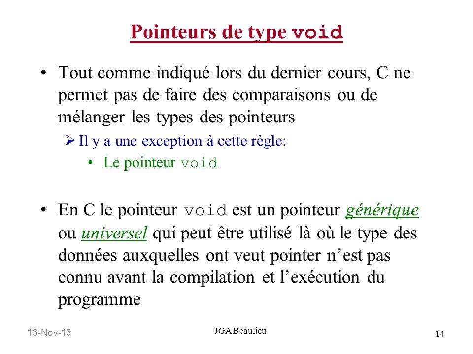 13-Nov-13 14 JGA Beaulieu Pointeurs de type void Tout comme indiqué lors du dernier cours, C ne permet pas de faire des comparaisons ou de mélanger le