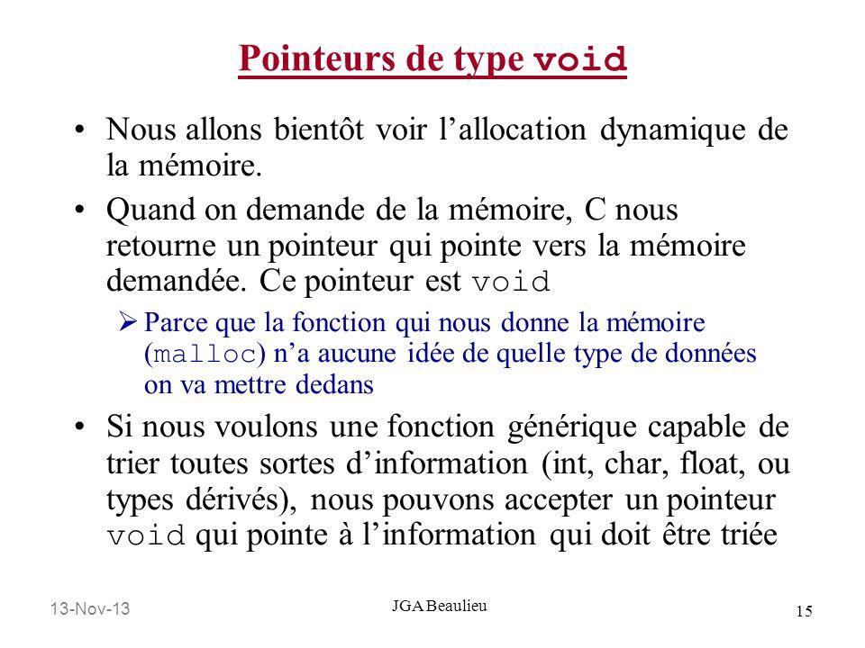 13-Nov-13 15 JGA Beaulieu Pointeurs de type void Nous allons bientôt voir lallocation dynamique de la mémoire. Quand on demande de la mémoire, C nous