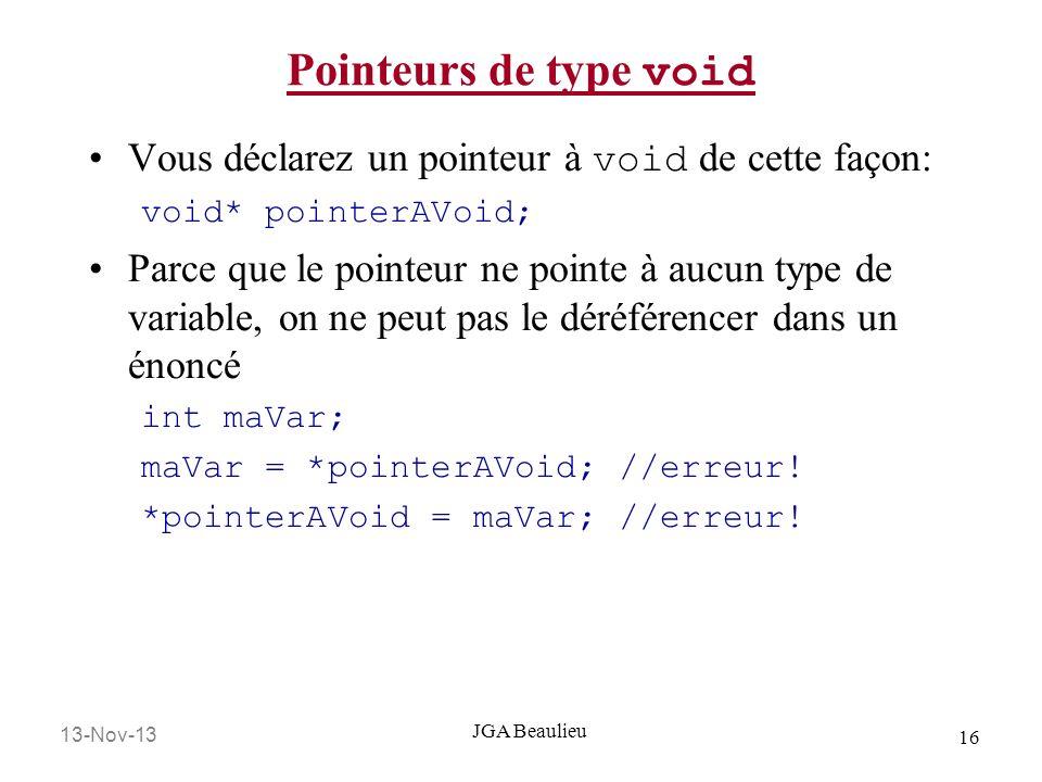 13-Nov-13 16 JGA Beaulieu Pointeurs de type void Vous déclarez un pointeur à void de cette façon: void* pointerAVoid; Parce que le pointeur ne pointe