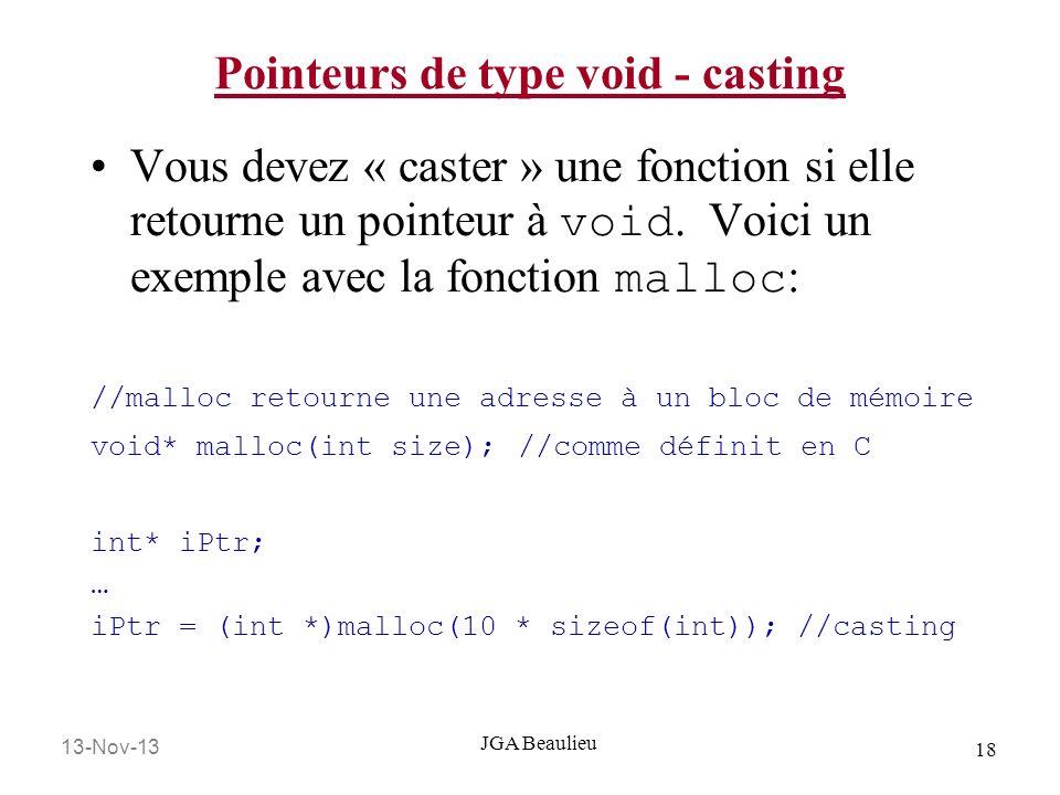 13-Nov-13 18 JGA Beaulieu Pointeurs de type void - casting Vous devez « caster » une fonction si elle retourne un pointeur à void. Voici un exemple av