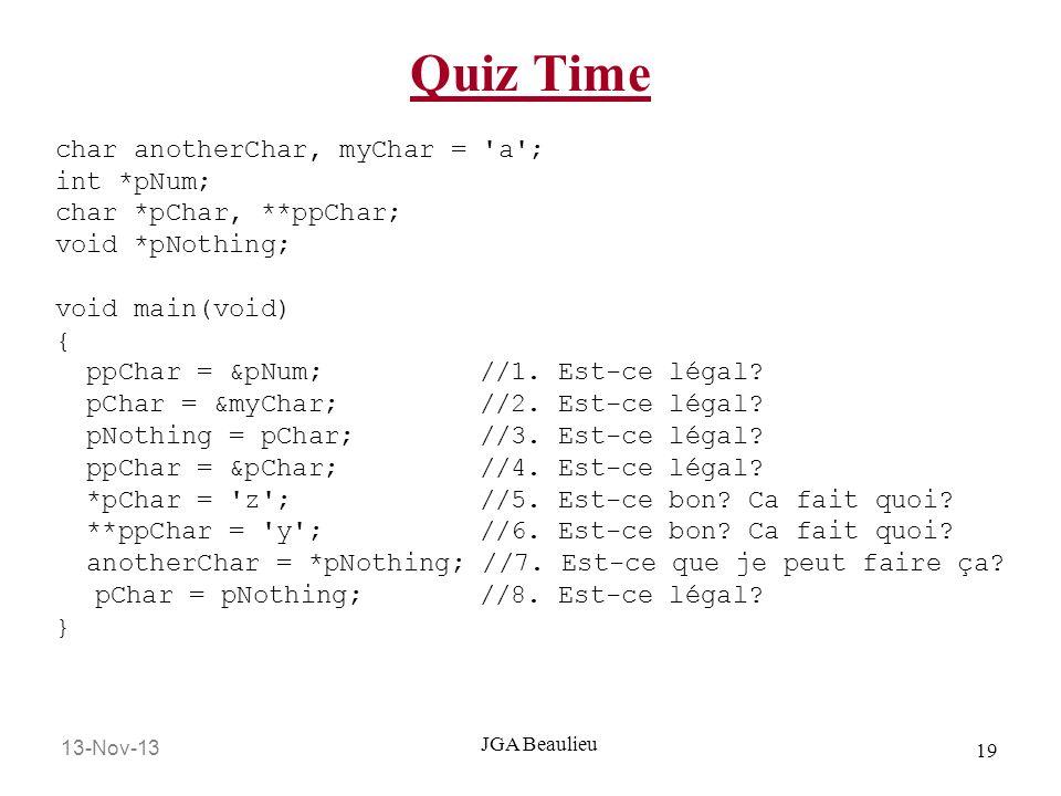 13-Nov-13 19 JGA Beaulieu Quiz Time char anotherChar, myChar = 'a'; int *pNum; char *pChar, **ppChar; void *pNothing; void main(void) { ppChar = &pNum