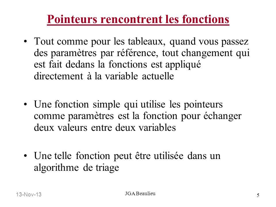 13-Nov-13 5 JGA Beaulieu Pointeurs rencontrent les fonctions Tout comme pour les tableaux, quand vous passez des paramètres par référence, tout change