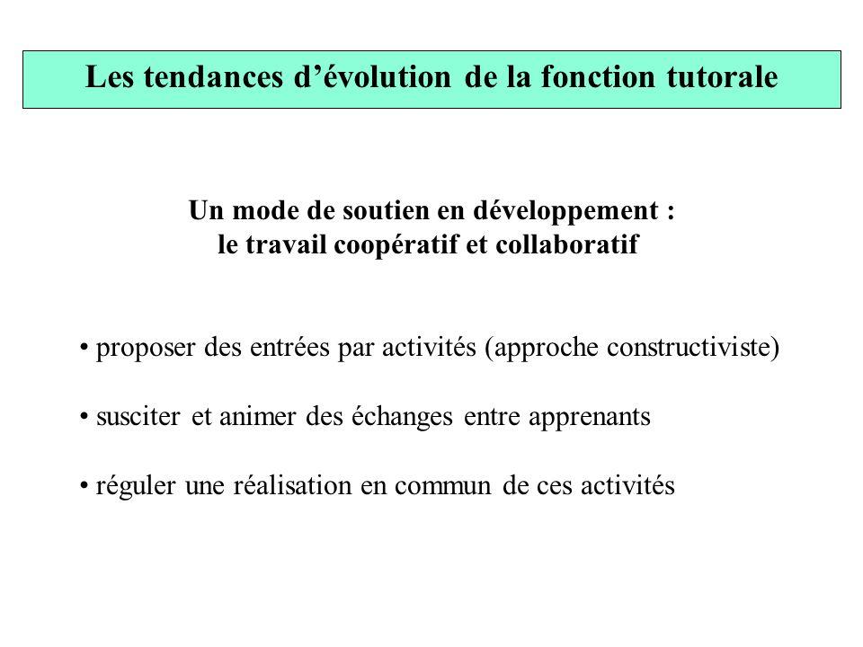 Les tendances dévolution de la fonction tutorale Un mode de soutien en développement : le travail coopératif et collaboratif proposer des entrées par