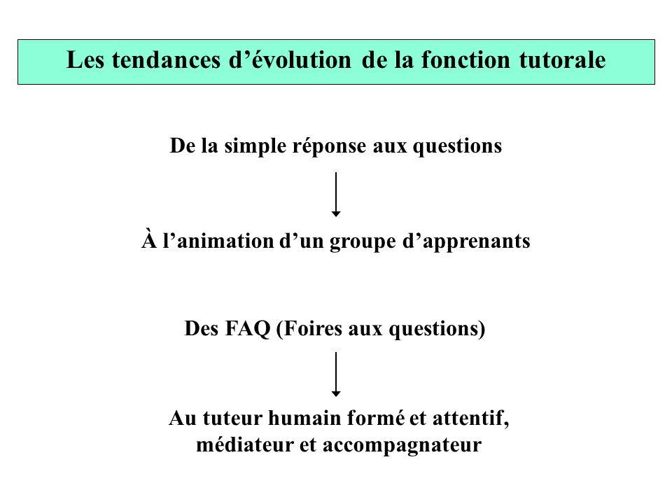 De la simple réponse aux questions À lanimation dun groupe dapprenants Des FAQ (Foires aux questions) Au tuteur humain formé et attentif, médiateur et
