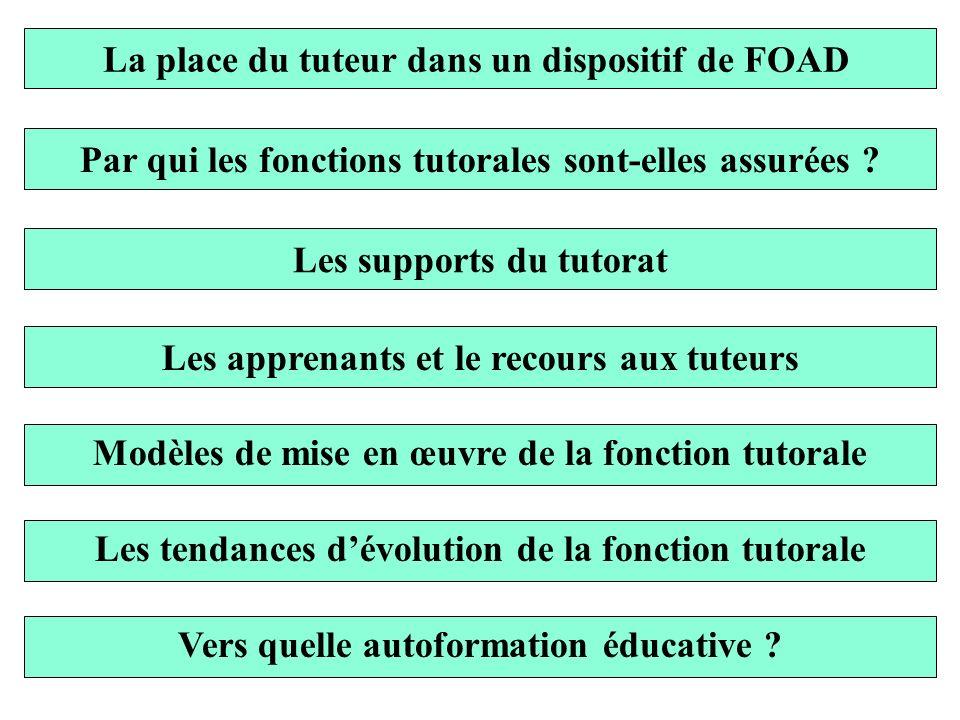 La place du tuteur dans un dispositif de FOAD Par qui les fonctions tutorales sont-elles assurées ? Les supports du tutorat Les apprenants et le recou