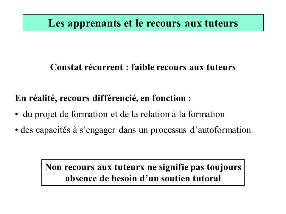 Constat récurrent : faible recours aux tuteurs En réalité, recours différencié, en fonction : du projet de formation et de la relation à la formation
