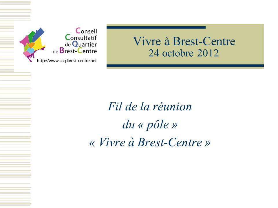 Vivre à Brest-Centre 24 octobre 2012 Fil de la réunion du « pôle » « Vivre à Brest-Centre »