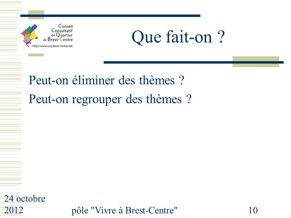 24 octobre 2012 pôle Vivre à Brest-Centre 10 Que fait-on .