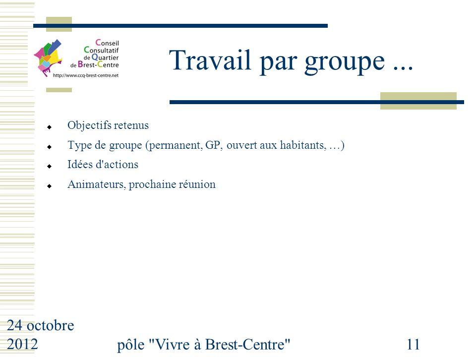 24 octobre 2012 pôle Vivre à Brest-Centre 11 Travail par groupe...