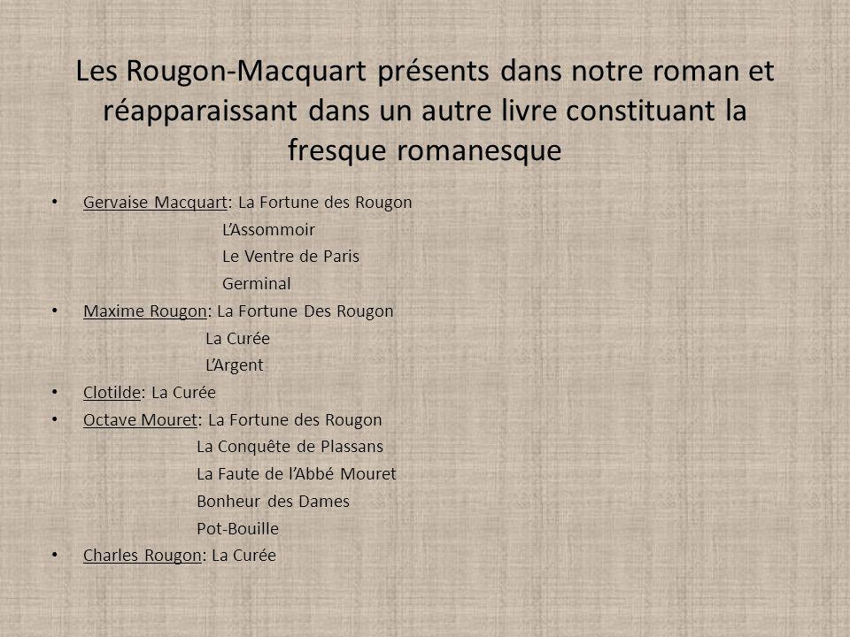 Les Rougon-Macquart présents dans notre roman et réapparaissant dans un autre livre constituant la fresque romanesque Gervaise Macquart: La Fortune de