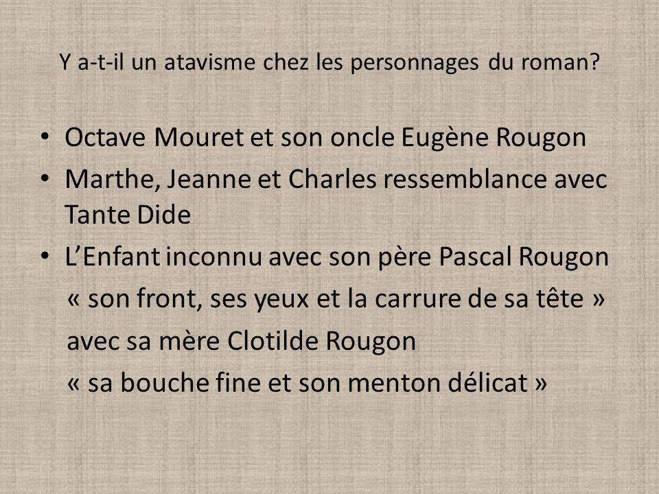 Y a-t-il un atavisme chez les personnages du roman? Octave Mouret et son oncle Eugène Rougon Marthe, Jeanne et Charles ressemblance avec Tante Dide LE