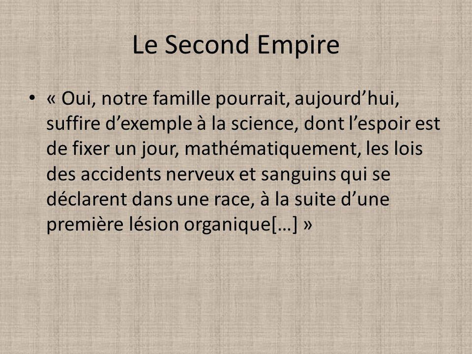 Le Second Empire « Oui, notre famille pourrait, aujourdhui, suffire dexemple à la science, dont lespoir est de fixer un jour, mathématiquement, les lo