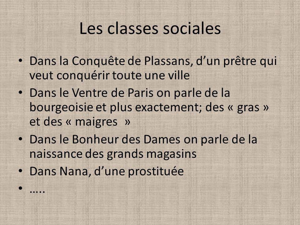 Les classes sociales Dans la Conquête de Plassans, dun prêtre qui veut conquérir toute une ville Dans le Ventre de Paris on parle de la bourgeoisie et