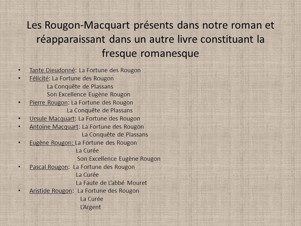 Les Rougon-Macquart présents dans notre roman et réapparaissant dans un autre livre constituant la fresque romanesque Tante Dieudonné: La Fortune des