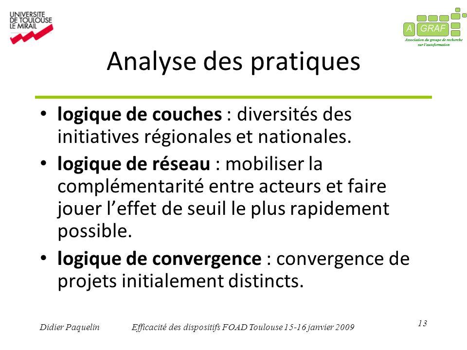 13 Didier PaquelinEfficacité des dispositifs FOAD Toulouse 15-16 janvier 2009 Analyse des pratiques logique de couches : diversités des initiatives régionales et nationales.