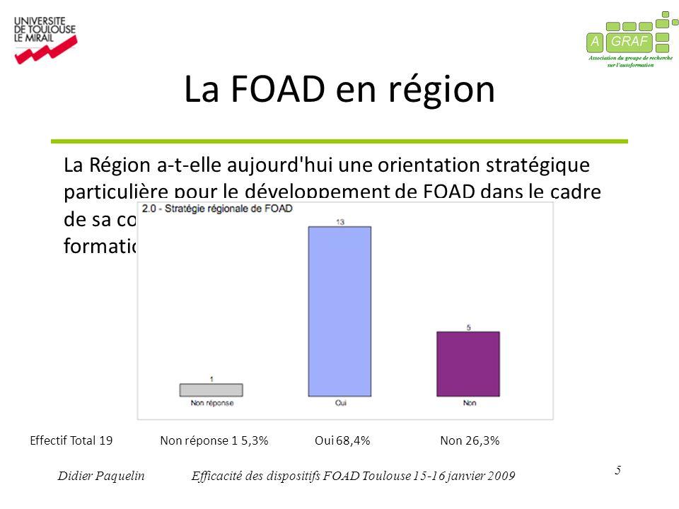 5 Didier PaquelinEfficacité des dispositifs FOAD Toulouse 15-16 janvier 2009 La FOAD en région La Région a-t-elle aujourd hui une orientation stratégique particulière pour le développement de FOAD dans le cadre de sa compétence de droit commun en matière de formation professionnelle .
