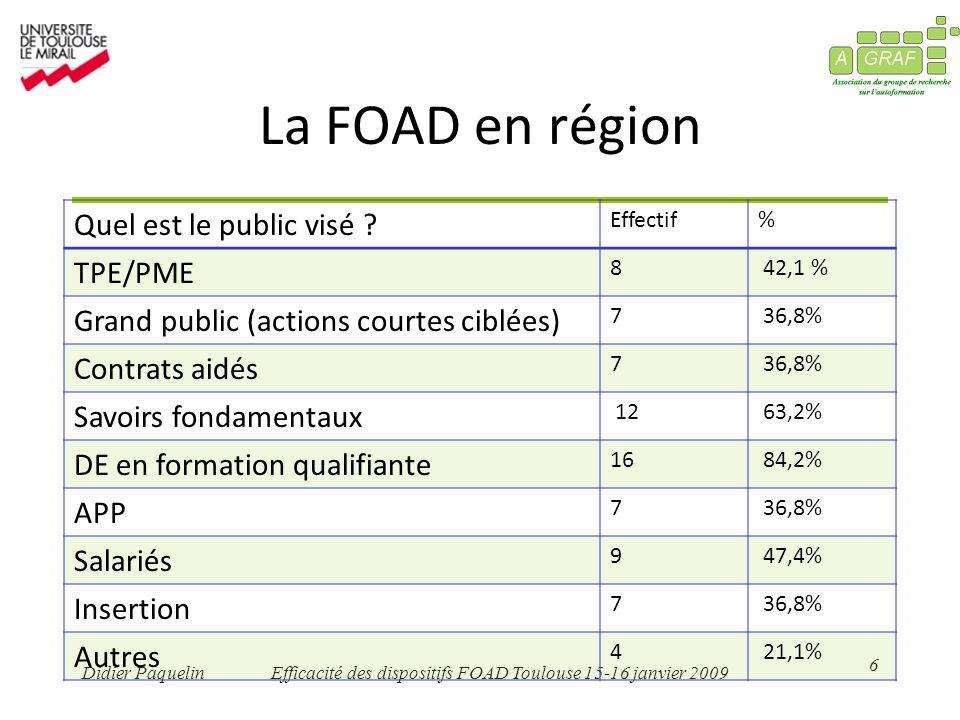 6 Didier PaquelinEfficacité des dispositifs FOAD Toulouse 15-16 janvier 2009 La FOAD en région Quel est le public visé .