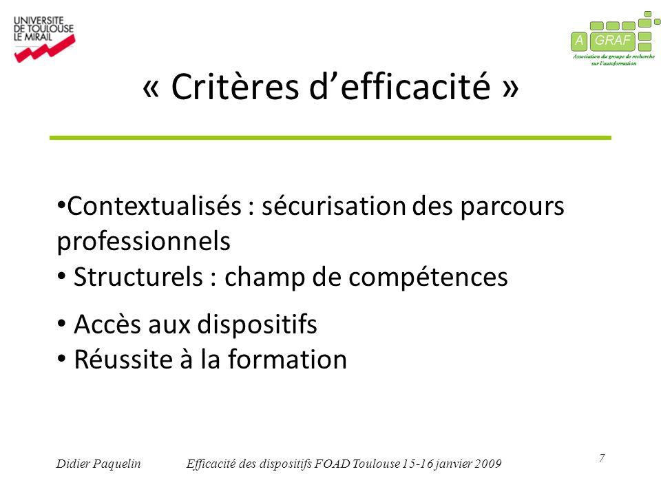 7 Didier PaquelinEfficacité des dispositifs FOAD Toulouse 15-16 janvier 2009 « Critères defficacité » Contextualisés : sécurisation des parcours professionnels Structurels : champ de compétences Accès aux dispositifs Réussite à la formation