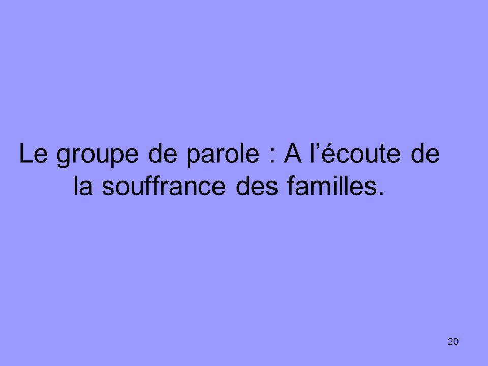 20 Le groupe de parole : A lécoute de la souffrance des familles.