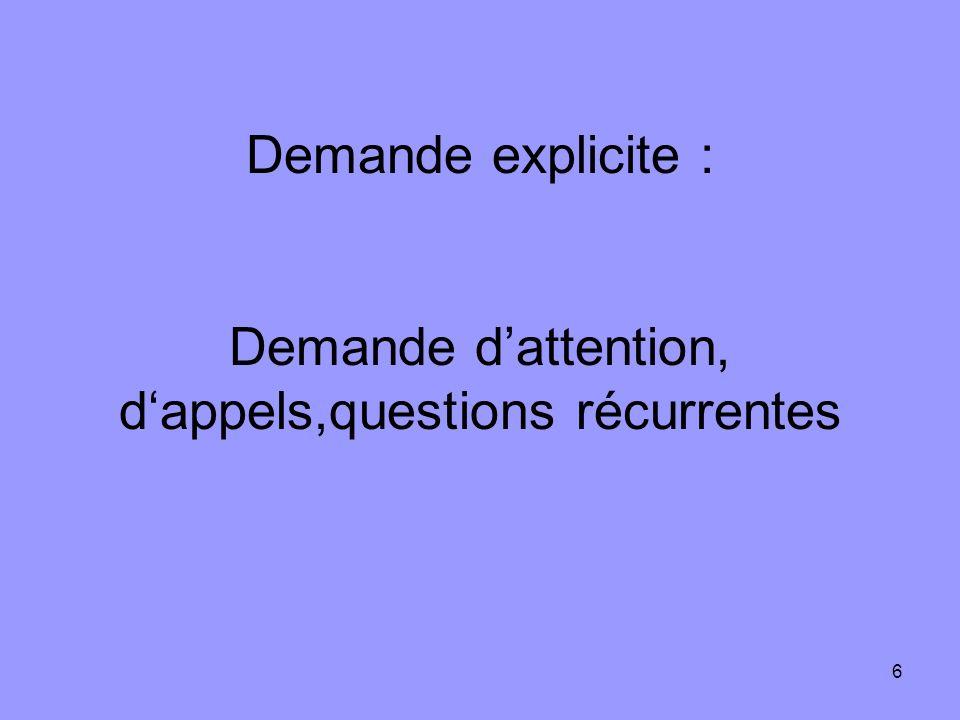 6 Demande explicite : Demande dattention, dappels,questions récurrentes
