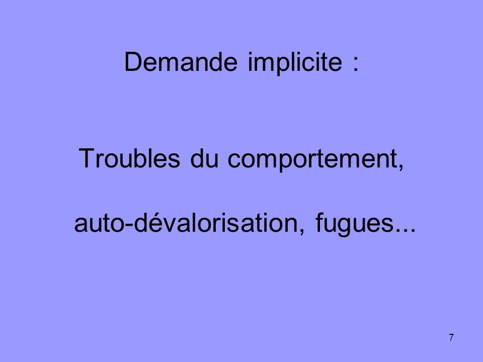 7 Demande implicite : Troubles du comportement, auto-dévalorisation, fugues...