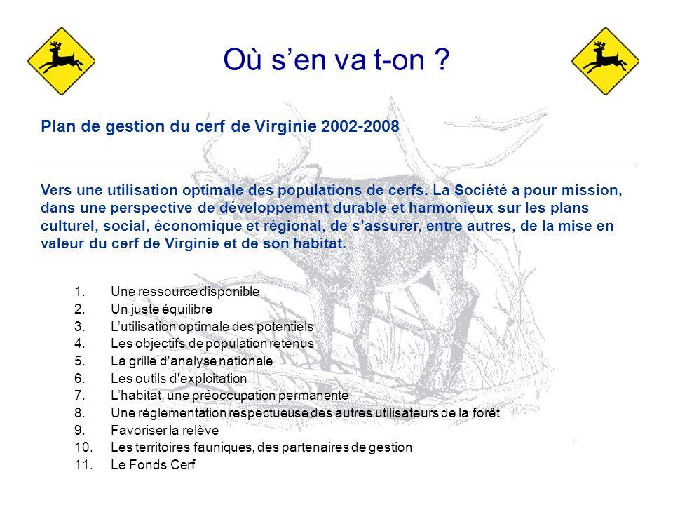 Plan de gestion du cerf de Virginie 2002-2008 Vers une utilisation optimale des populations de cerfs. La Société a pour mission, dans une perspective
