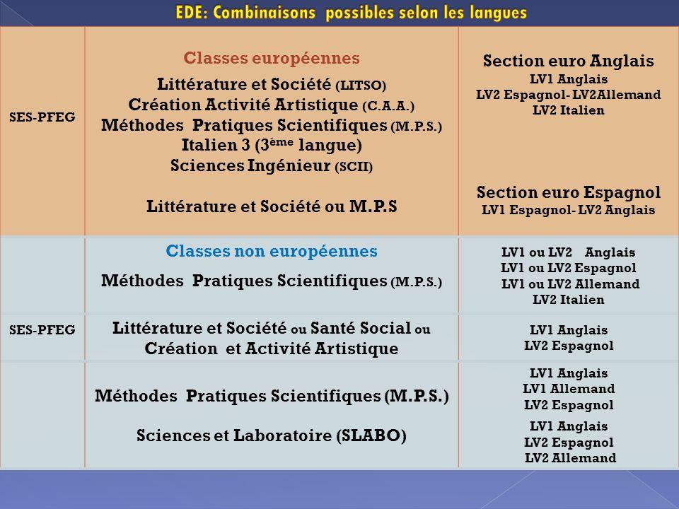 SES-PFEG Classes européennes Littérature et Société (LITSO) Création Activité Artistique (C.A.A.) Méthodes Pratiques Scientifiques (M.P.S.) Italien 3 (3 ème langue) Sciences Ingénieur (SCII) Littérature et Société ou M.P.S Section euro Anglais LV1 Anglais LV2 Espagnol- LV2Allemand LV2 Italien Section euro Espagnol LV1 Espagnol- LV2 Anglais Classes non européennes Méthodes Pratiques Scientifiques (M.P.S.) LV1 ou LV2 Anglais LV1 ou LV2 Espagnol LV1 ou LV2 Allemand LV2 Italien SES-PFEG Littérature et Société ou Santé Social ou Création et Activité Artistique LV1 Anglais LV2 Espagnol Méthodes Pratiques Scientifiques (M.P.S.) Sciences et Laboratoire (SLABO) LV1 Anglais LV1 Allemand LV2 Espagnol LV1 Anglais LV2 Espagnol LV2 Allemand