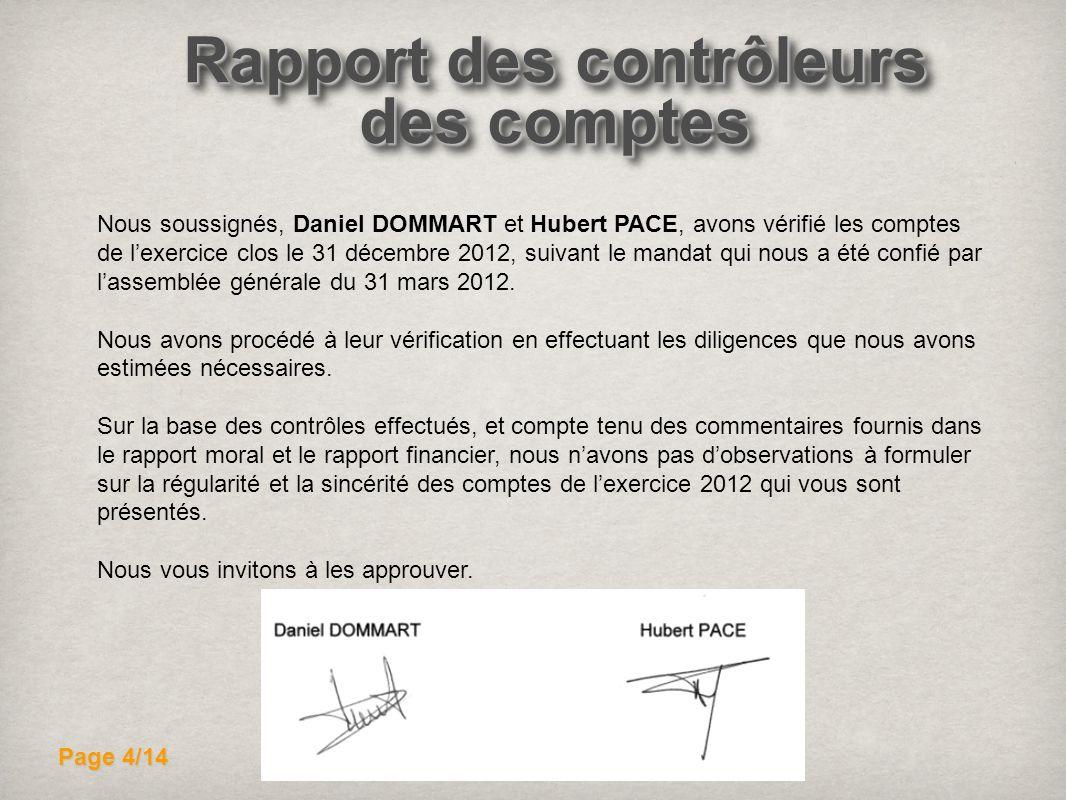 Rapport des contrôleurs des comptes Nous soussignés, Daniel DOMMART et Hubert PACE, avons vérifié les comptes de lexercice clos le 31 décembre 2012, s