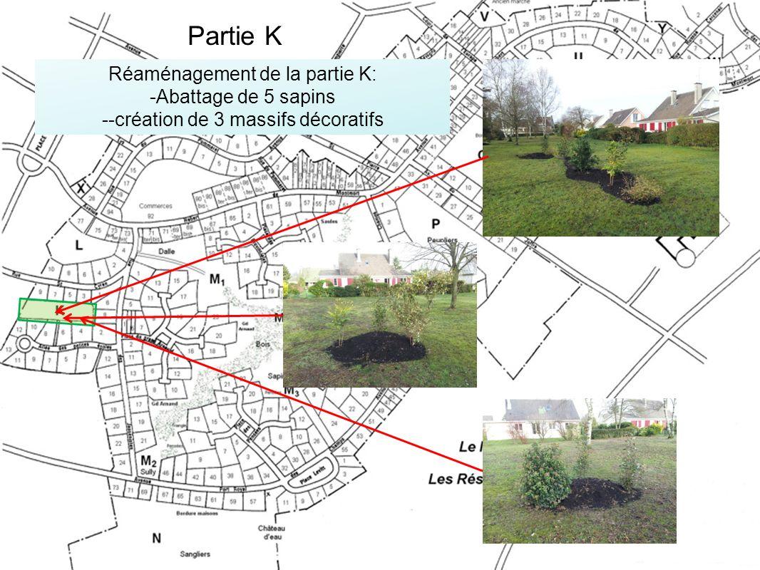 Réaménagement de la partie K: -Abattage de 5 sapins --création de 3 massifs décoratifs Partie K