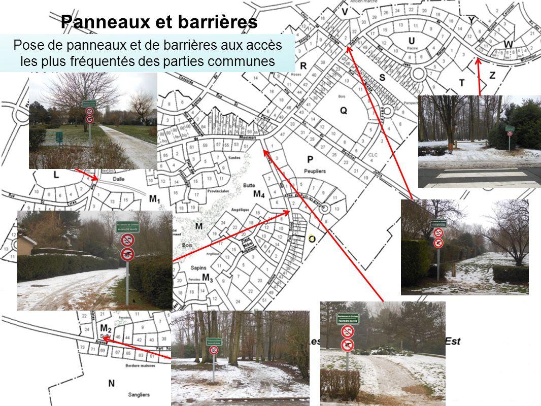 O Pose de panneaux et de barrières aux accès les plus fréquentés des parties communes Panneaux et barrières