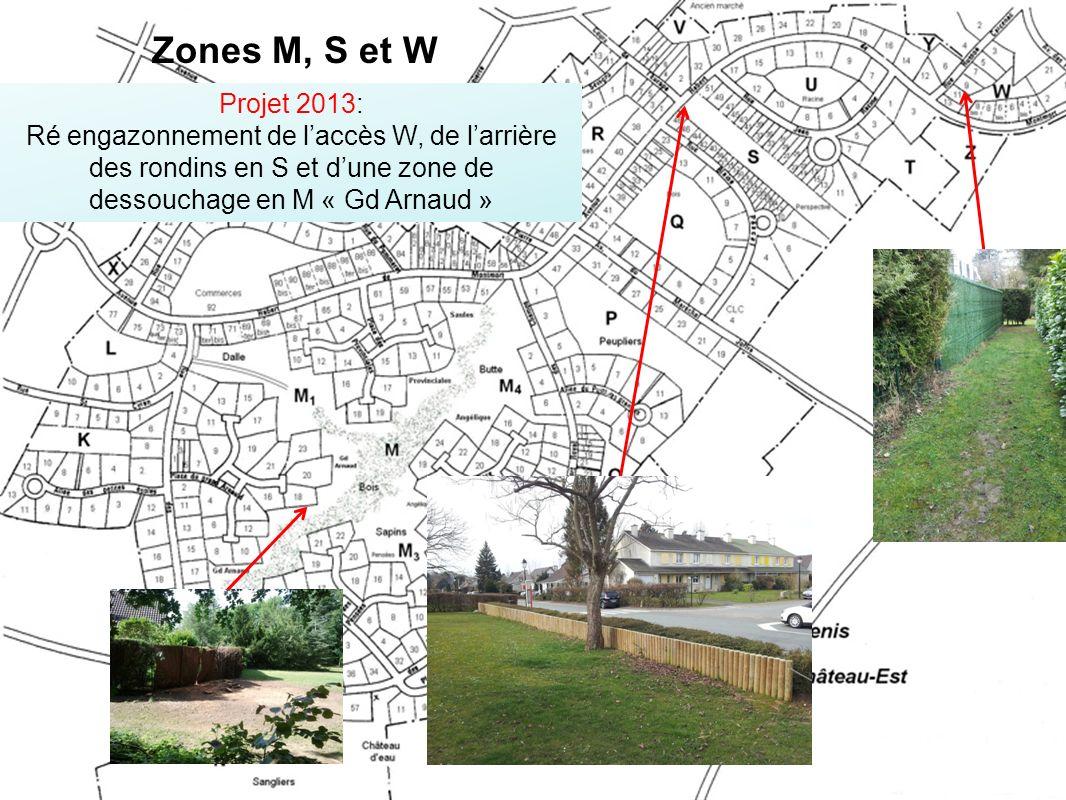 Projet 2013: Ré engazonnement de laccès W, de larrière des rondins en S et dune zone de dessouchage en M « Gd Arnaud » Zones M, S et W