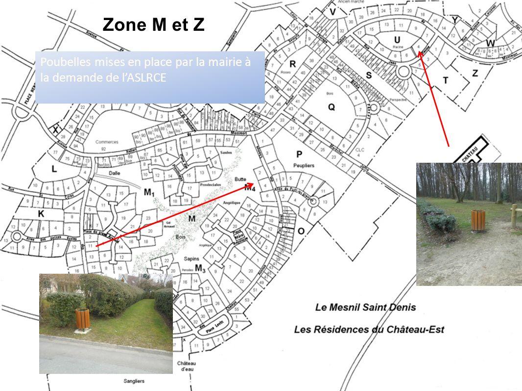 Poubelles mises en place par la mairie à la demande de lASLRCE Zone M et Z