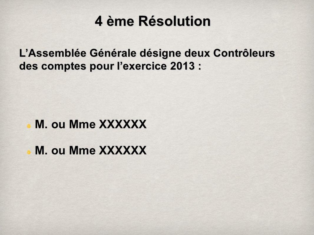 4 ème Résolution LAssemblée Générale désigne deux Contrôleurs des comptes pour lexercice 2013: LAssemblée Générale désigne deux Contrôleurs des compte