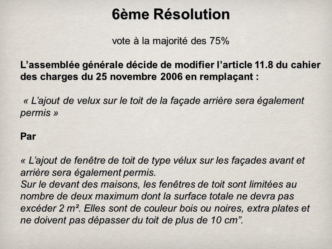 6 ème Résolution vote à la majorité des 75% Lassemblée générale décide de modifier larticle 11.8 du cahier des charges du 25 novembre 2006 en remplaça