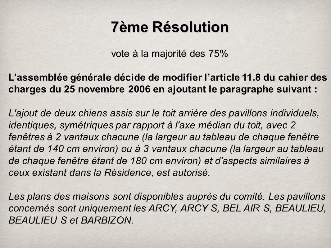 7 ème Résolution vote à la majorité des 75% Lassemblée générale décide de modifier larticle 11.8 du cahier des charges du 25 novembre 2006 en ajoutant