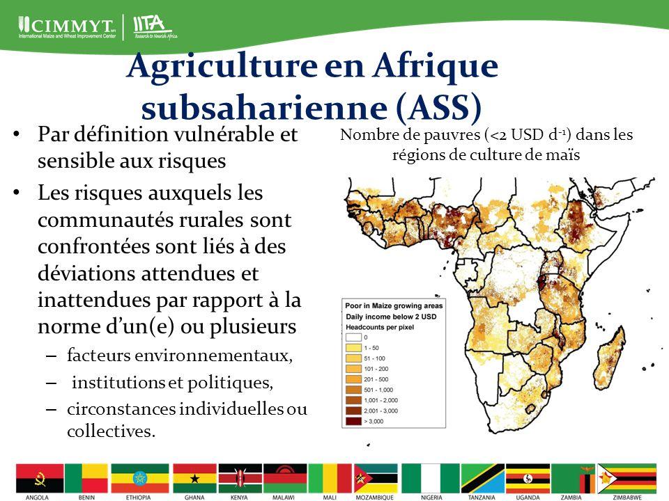 Agriculture en Afrique subsaharienne Risque majeur : – situé au niveau de la production et de limprévisibilité des rendements agricoles.