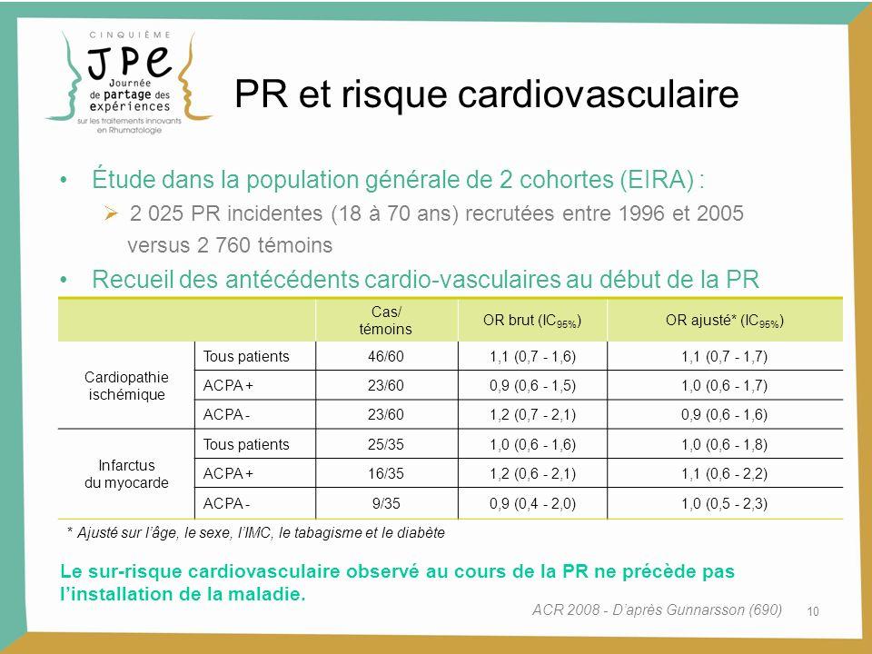 10 PR et risque cardiovasculaire Étude dans la population générale de 2 cohortes (EIRA) : 2 025 PR incidentes (18 à 70 ans) recrutées entre 1996 et 20