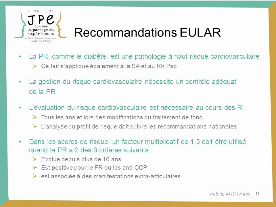 14 Recommandations EULAR Peters, ARD on line La PR, comme le diabète, est une pathologie à haut risque cardiovasculaire Ce fait sapplique également à