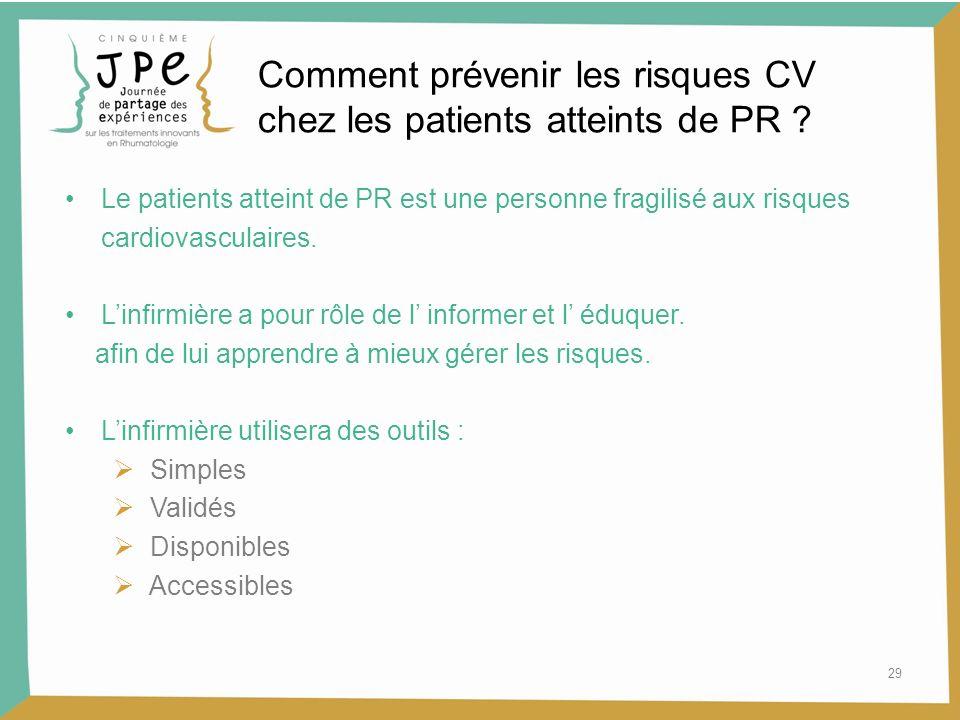 29 Comment prévenir les risques CV chez les patients atteints de PR ? Le patients atteint de PR est une personne fragilisé aux risques cardiovasculair