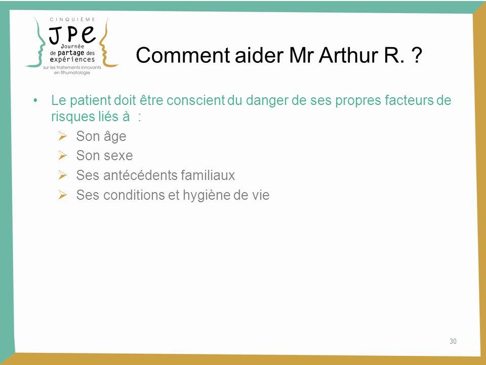 30 Comment aider Mr Arthur R. ? Le patient doit être conscient du danger de ses propres facteurs de risques liés à : Son âge Son sexe Ses antécédents