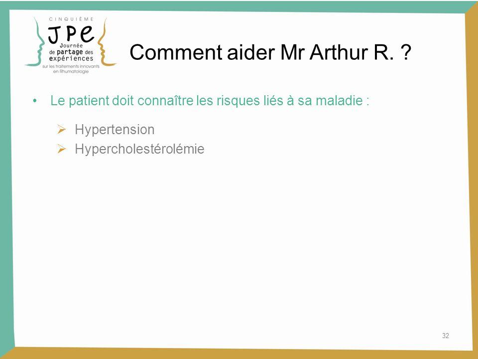 32 Le patient doit connaître les risques liés à sa maladie : Hypertension Hypercholestérolémie Comment aider Mr Arthur R. ?