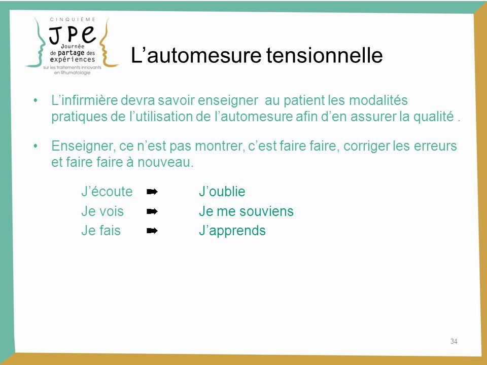 34 Lautomesure tensionnelle Linfirmière devra savoir enseigner au patient les modalités pratiques de lutilisation de lautomesure afin den assurer la q