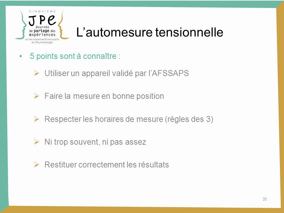 35 5 points sont à connaître : Utiliser un appareil validé par lAFSSAPS Faire la mesure en bonne position Respecter les horaires de mesure (règles des