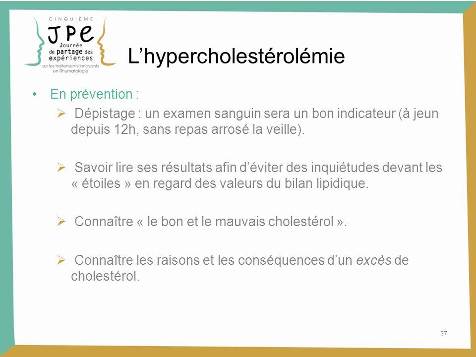 37 Lhypercholestérolémie En prévention : Dépistage : un examen sanguin sera un bon indicateur (à jeun depuis 12h, sans repas arrosé la veille). Savoir