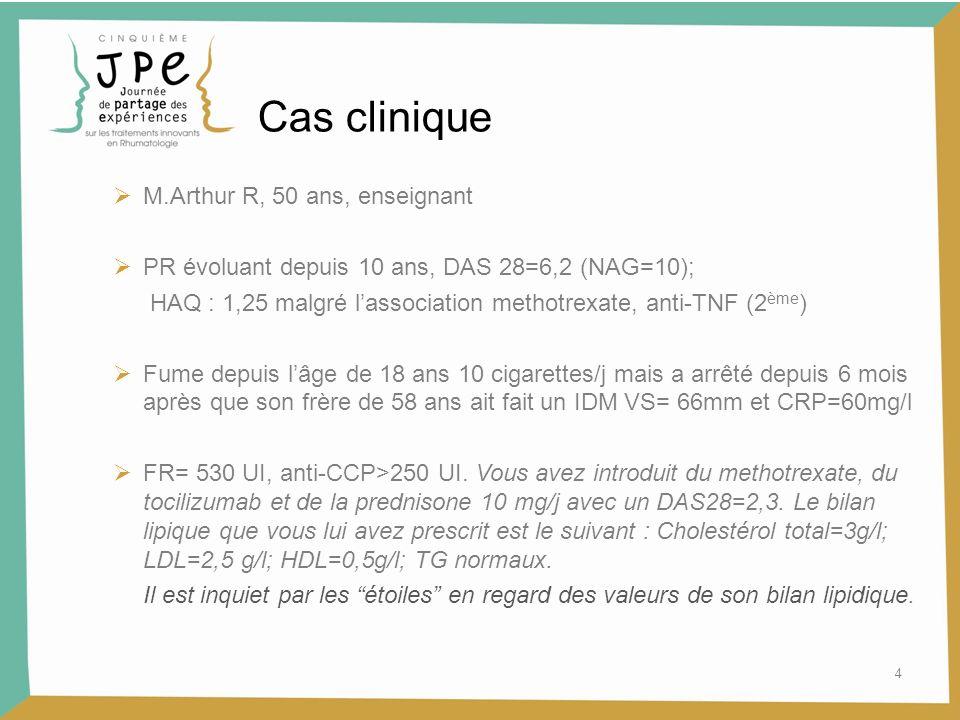 4 Cas clinique M.Arthur R, 50 ans, enseignant PR évoluant depuis 10 ans, DAS 28=6,2 (NAG=10); HAQ : 1,25 malgré lassociation methotrexate, anti-TNF (2