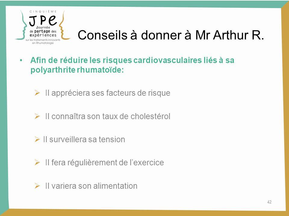 42 Conseils à donner à Mr Arthur R. Afin de réduire les risques cardiovasculaires liés à sa polyarthrite rhumatoïde: Il appréciera ses facteurs de ris