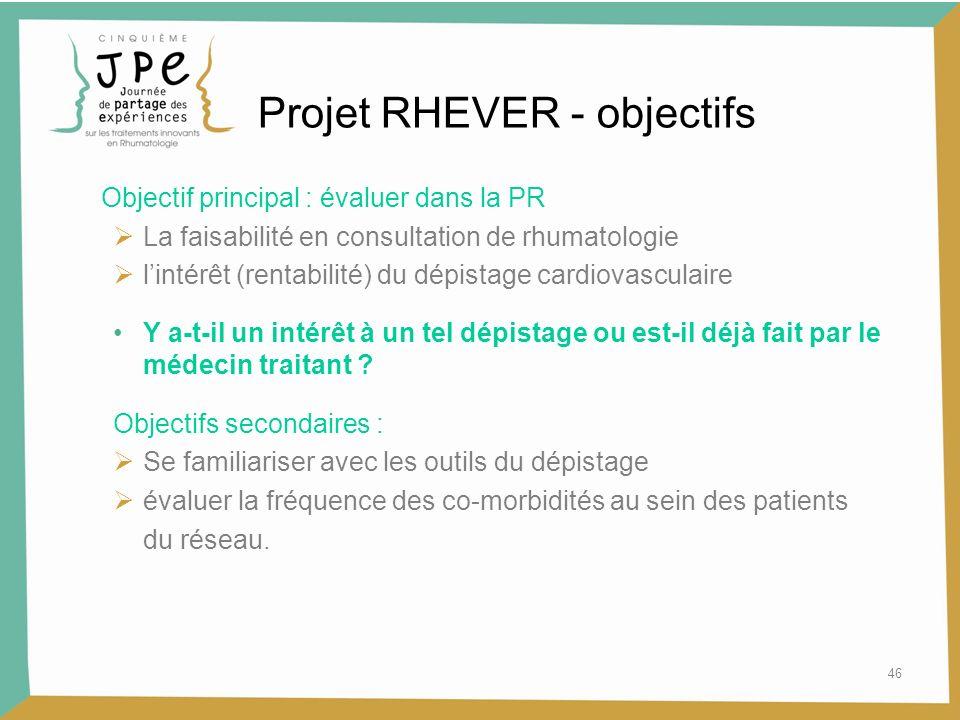46 Projet RHEVER - objectifs Objectif principal : évaluer dans la PR La faisabilité en consultation de rhumatologie lintérêt (rentabilité) du dépistag